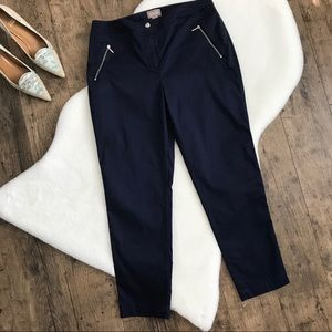 Chico's Navy Zip Pocket Cropped Ankle Pants